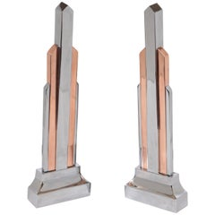 Machine Age Art Deco Skyscraper Andirons Copper Chrome, Pair