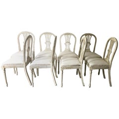 Set of Eight 19th Century Swedish Painted Wheatsheaf Dining Chairs
