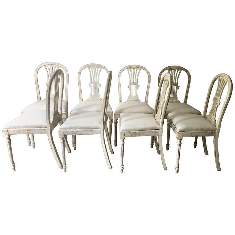 Set of Eight 19th Century Swedish Painted Wheatsheaf Dining Chairs
