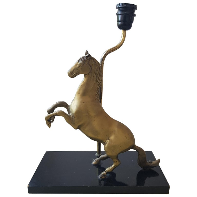 Brass Jumping Horse Table Lamp 1980s