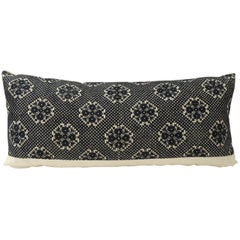 Dark Indigo Embroidery Fez Antique Textile Bolster Decorative Pillow