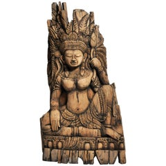 Southeast Asian Wood Carving of a Goddess
