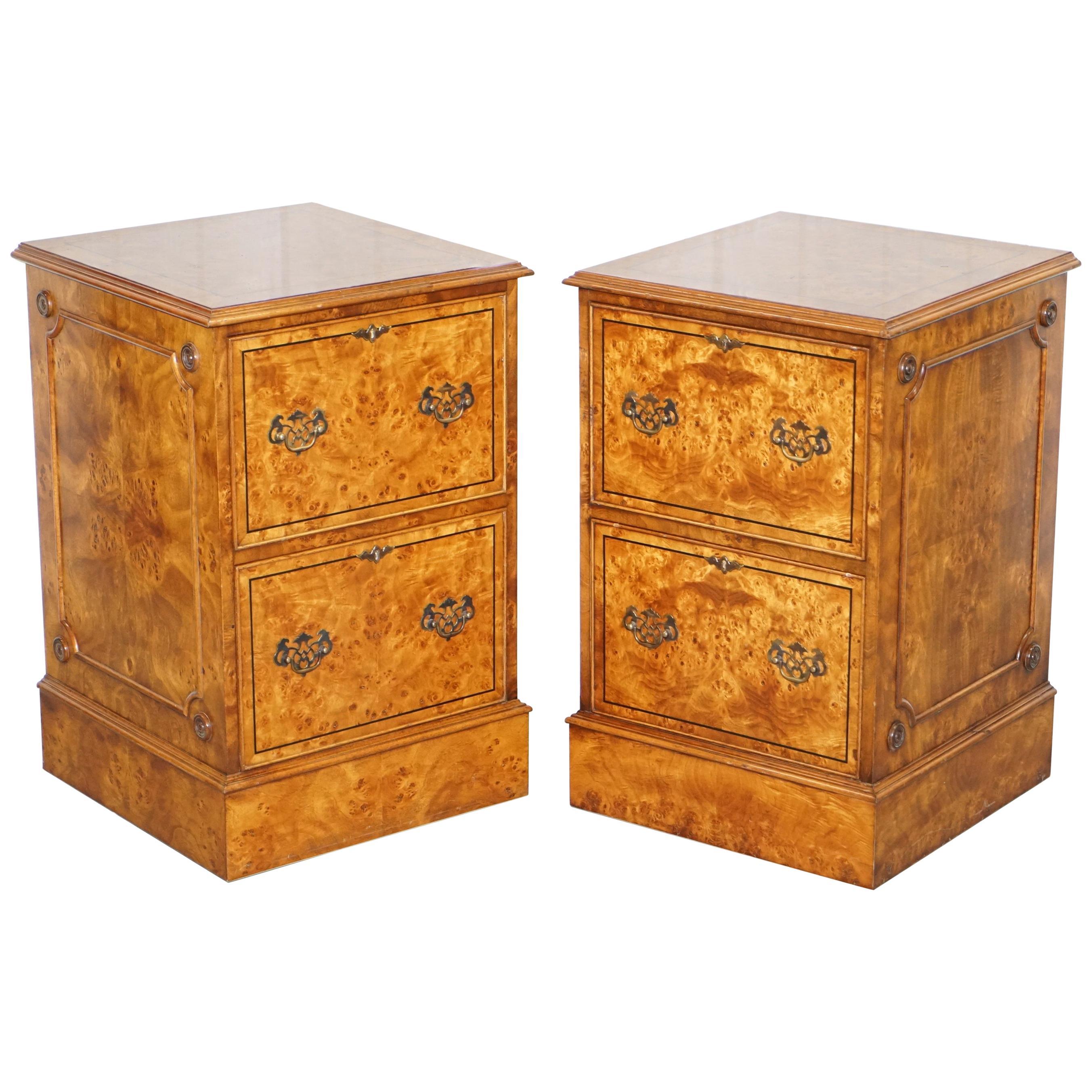 Genial Pair Of Brights Of Nettlebed Burr Walnut Office Filing Cabinets Desk