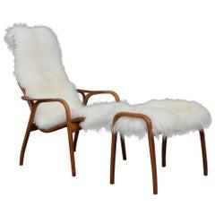 Yngve Ekström Sheepskin Lounge Chair with Footstool