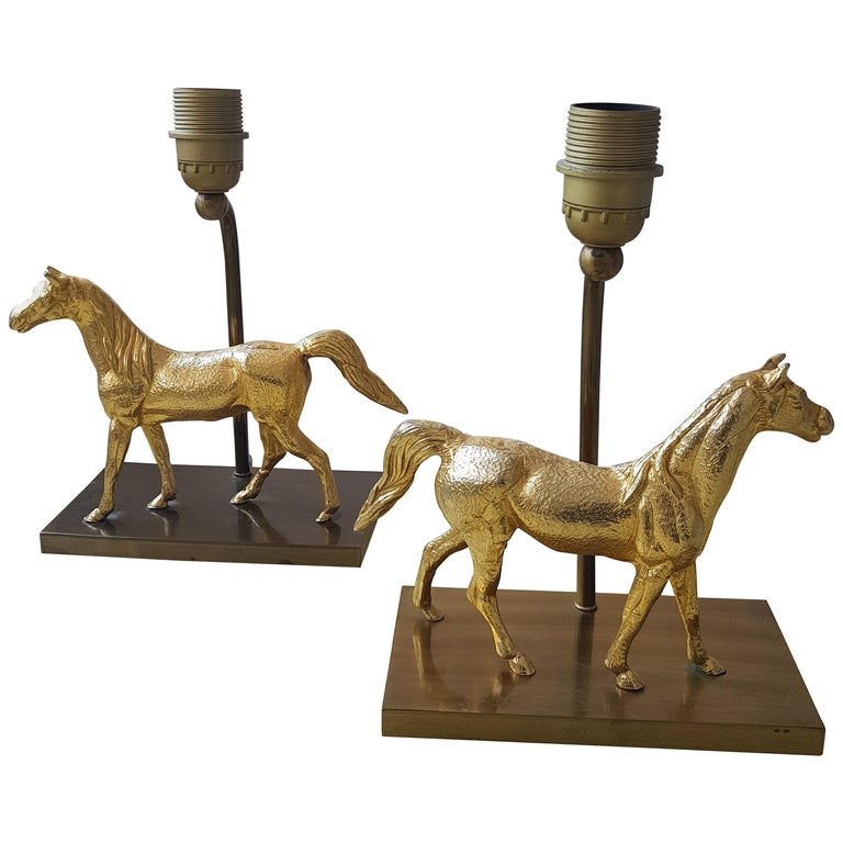 Hollywood Regency Brass Horse Lamps, 1970s