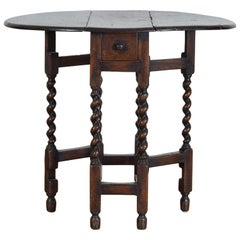 English Oak Drop-Leaf Table with One-Drawer, 19th Century