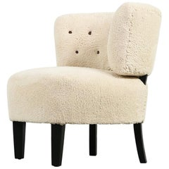 Mid-Century Modern 1950s Otto Schultz Lounge Chair, Teddy Fur & Leather Restored