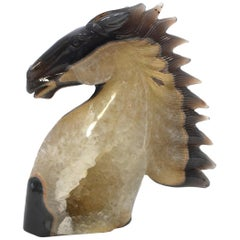 Natural Agate Gemstone Horse with Gold Crystals