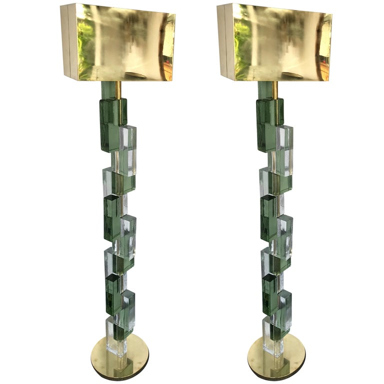 Contemporary Floor Lamps Cubic Murano Glass and Brass, Italy