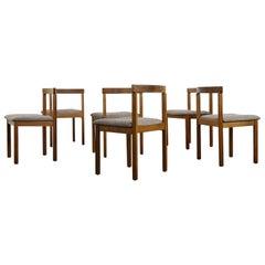 Set of Six Rare Scandinavian 1960s Asko Vintage Beechwood Chairs, Tweed Covered