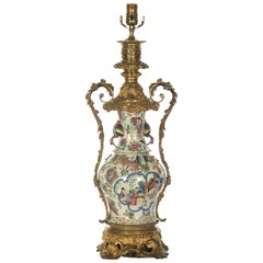 Rococo Style Brass Mounted Famille Rose Vase Table Lamp