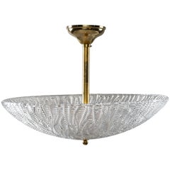 Barovier and Toso Umbrella Form Fixture with Brass Fittings