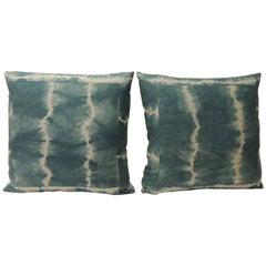 Pair of Vintage Green Shibori Square Throw Pillows