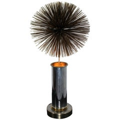 Mid-Century Modern Curtis Jere Mixed Metals Spiky Pom Pom Table Lamp 1960s