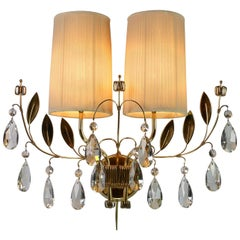 Paavo Tynell, a Single Finnish Crystal and Brass Sconces