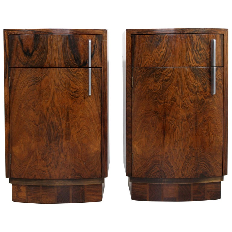 Deco Modern Pair of Rosewood Nightstands by Gilbert Rohde for Herman Miller
