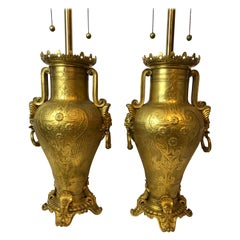 Large and Impressive F. Barbedienne, Pair of Dore, Gilt Bronze Urn Lamps