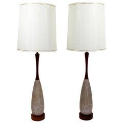 Mid-Century Modern Pair of Ceramic Raymor Giraffe Table Lamps Italian