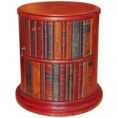Italian Leather Book Drum Table