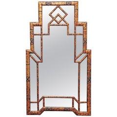 Hollywood Regency Style Burnt Bamboo Mirror