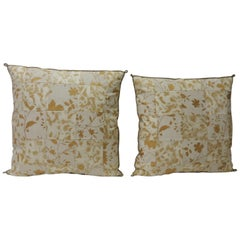 Pair of Vintage Yellow and Natural Fortuny Patchwork Square Decorative Pillows