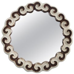 Gail Dooley, Circular Glazed Stoneware Cloud Mirror
