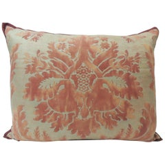 "Vintage Red on Silvery Gold Fortuny ""Glicine"" Decorative Pillow"