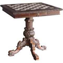 Victorian Style Custom Made Ornate Carved Wedding Presentation Chess Table