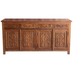 Solid Teak Wood Early 20th Century Entry Hall Credenza from a Tea Plantation