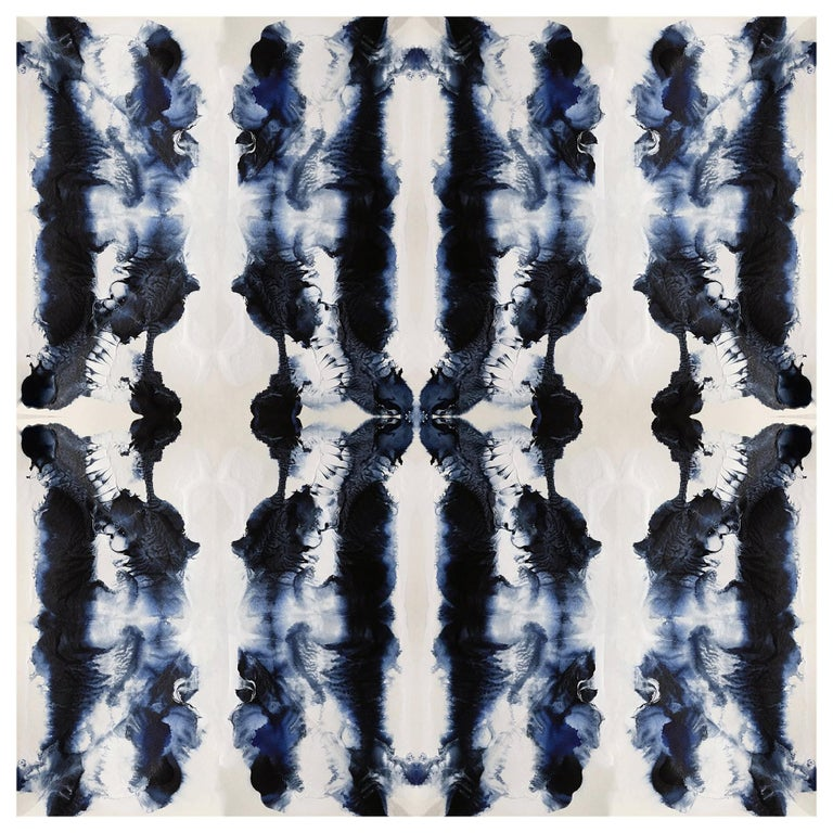 Waterstripe Wallpaper in Indigo by Gray Flores Design x Greenpoint Hill For Sale