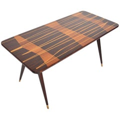 French Modern Atomic Inlay Coffee Table