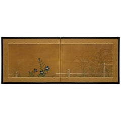 Two-Panel Screen, Fall Grasses and Flowers by Bamboo Fence