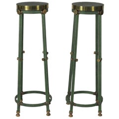 Pair of Modern Iron and Brass Pedestals with Faux Shagreen Enameled Finish