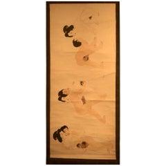 "Japanese Fine and Rare ""Shunga"" Erotic Hand Scroll, Brilliant Colors"
