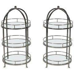 Mcm Pair of Chrome and Glass Cocktail End Tables