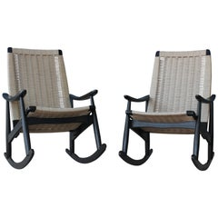 Rocking Chairs with Woven Seats, 1960