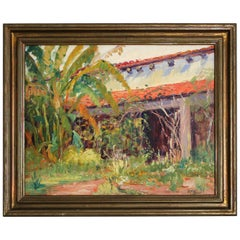 Listed San Diego Artist Bess Gilbert Impressionist Oil Painting Old Town, 1933