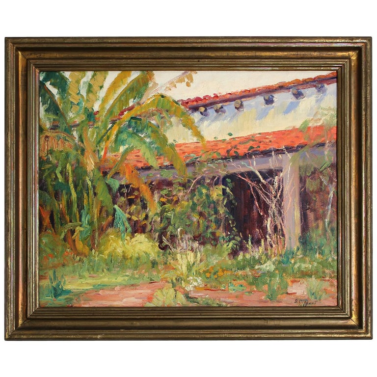 Listed San Diego Artist Bess Gilbert Impressionist Oil Painting Old Town, 1933 For Sale
