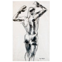 """""""Boxer in Triumph,"""" Rare Ink Drawing of Male Boxer with Arms Raised, 1929"""