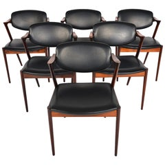 Set of Six Model 42 Kai Kristiansen Dining Chairs in Rosewood