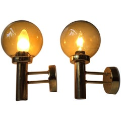 Pair of Vintage Danish Brass and Smoked Glass Globe Sconces from Steen & Steen