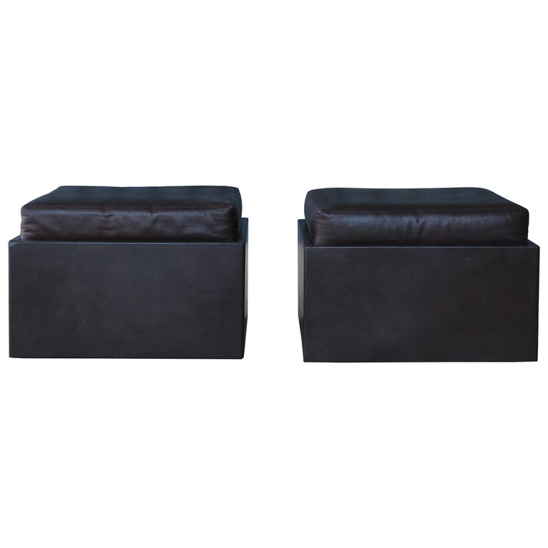 Pair of Leather Wrapped Ottomans, 1970s