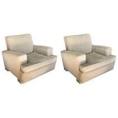 Club Chairs in the Style of Jacques Adnet, Pair