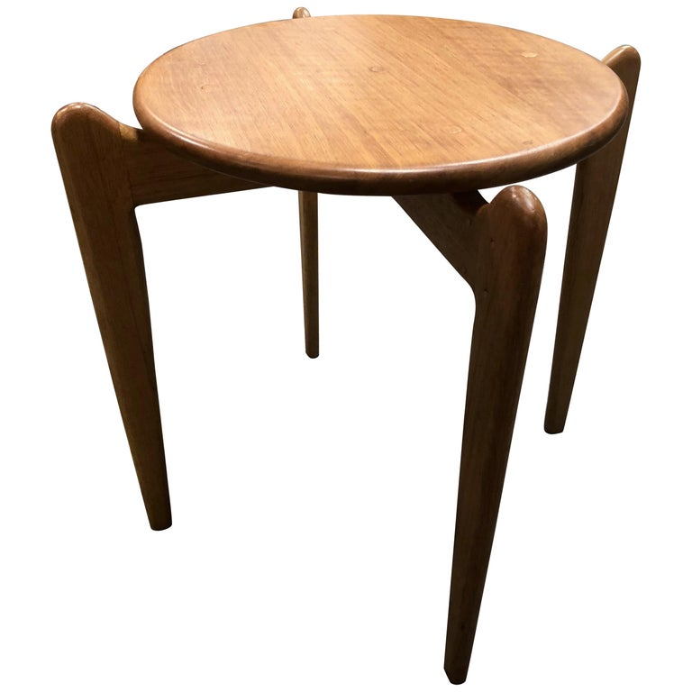 Midcentury Danish Blonde Wood End Table For