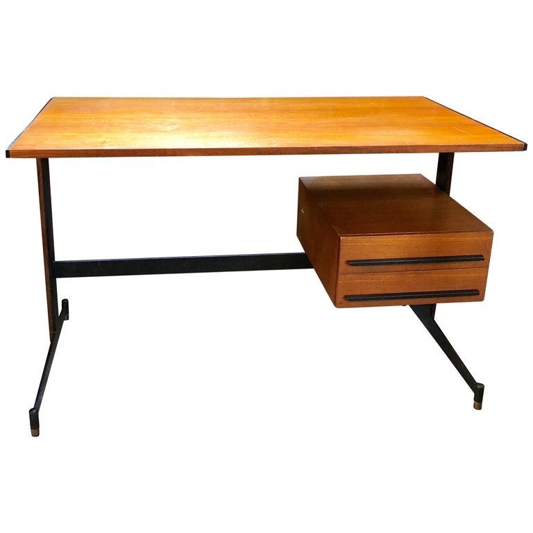Midcentury Italian Teak Writing Desk, 1950s