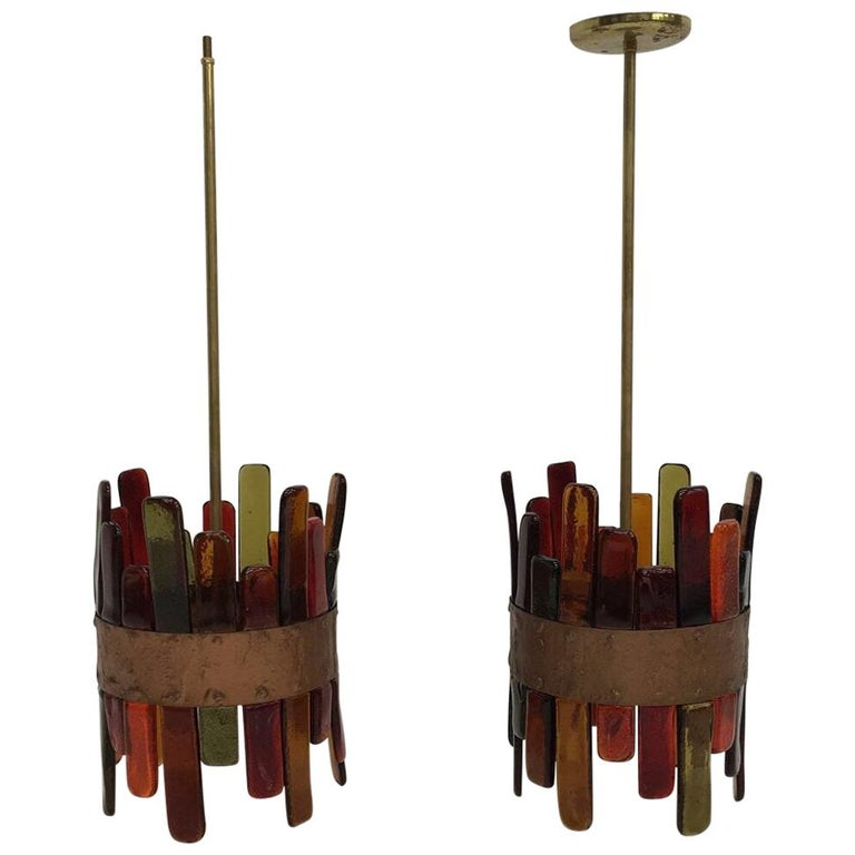 Mexican Mid-Century Modernist Pair of Feders Pendant Lights