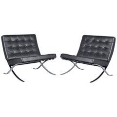 Barcelona Lounge Chairs by Mies Van Der Rohe for Knoll Inc, Set of Two