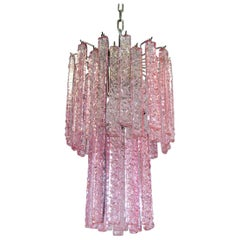 Vintage Murano Chandelier, 44 Pink Prism Icicle