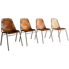 Les Arcs Dining Chairs Set of Four Charlotte Perriand Leather Tan, 1970s
