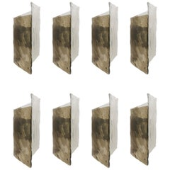 Impressive J.T Kalmar Frosted Glass Sconces Made from Thick and Heavy Cast Glass